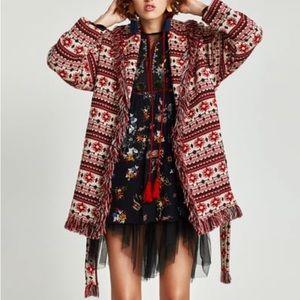 Knit fringe boho zara jacket.